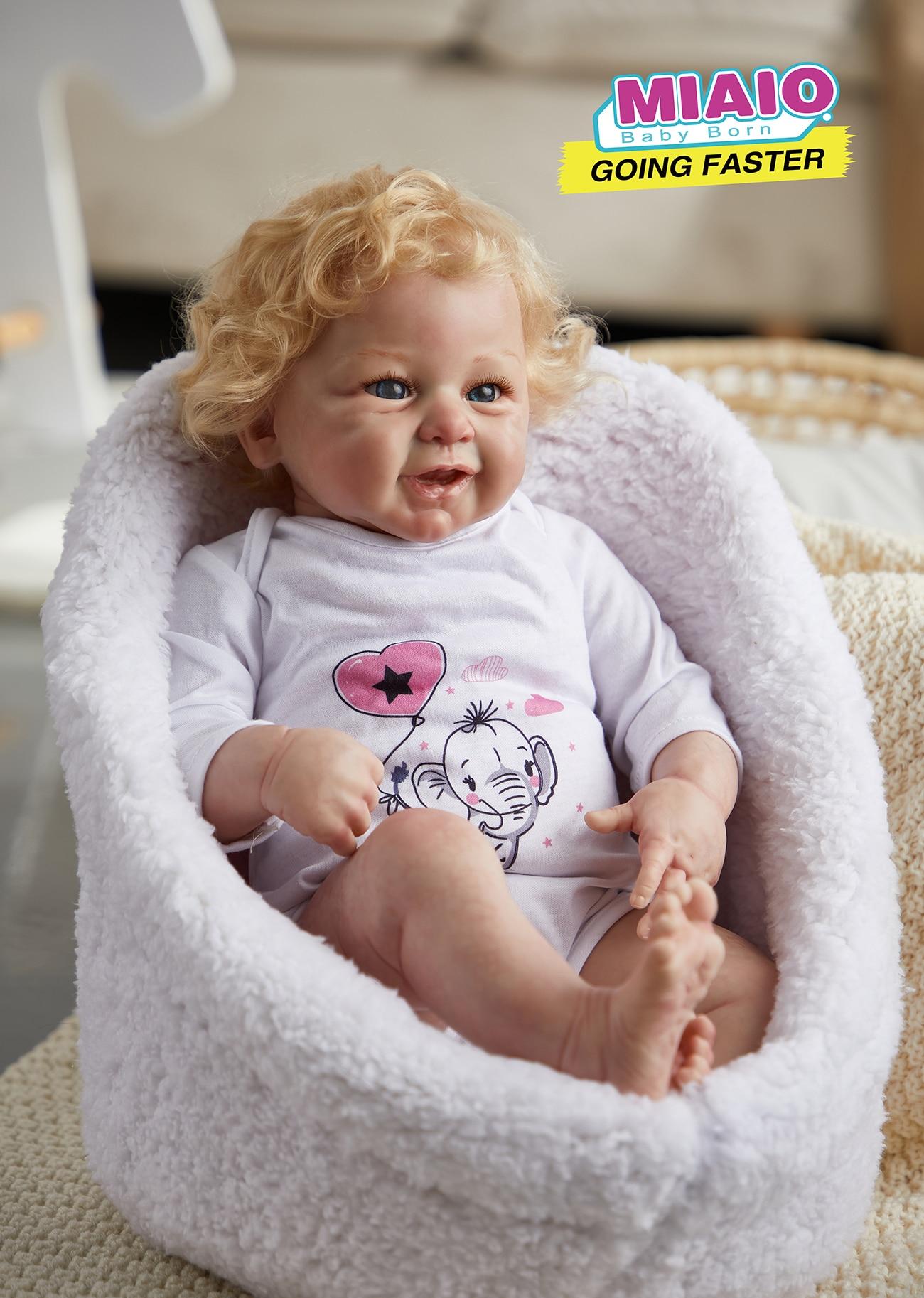 21 بوصة لول مبتسم واقعية تولد من جديد بيبي دمى على قيد الحياة الوليد القماش الجسم ألعاب من الفينيل هدية لفتاة الأطفال