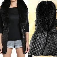 womens imitation fur coat heavy hair collar patchwork leather vest warm coats new korean patchwork leather coat sleeveless 3xl