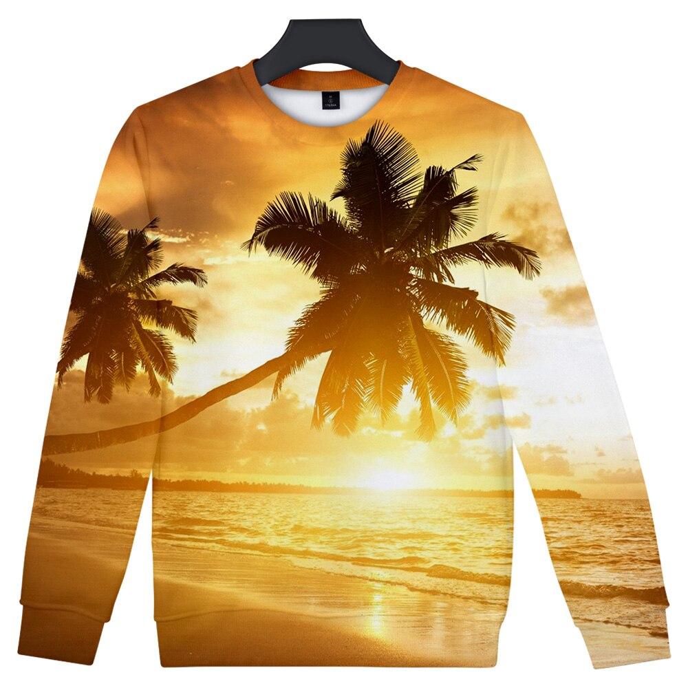 Coconut Tree Beach Hoodies Men/Women Capless Sweatshirt Hooded Men's Ocean Sky Beautiful Seaside View Sweet Hoody Hip Hop Coats