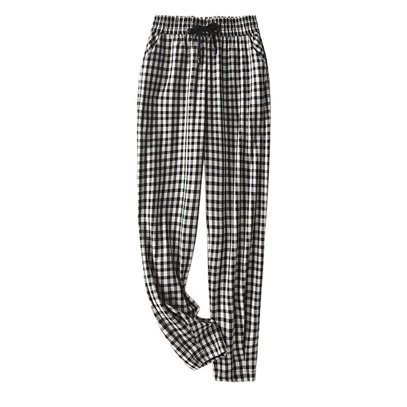 SHUCHAN Plaid Pants & Capris Polyester Ankle-Length Pants LOOSE Pockets HIGH Waist Straight Spring/Autumn Woman Pants