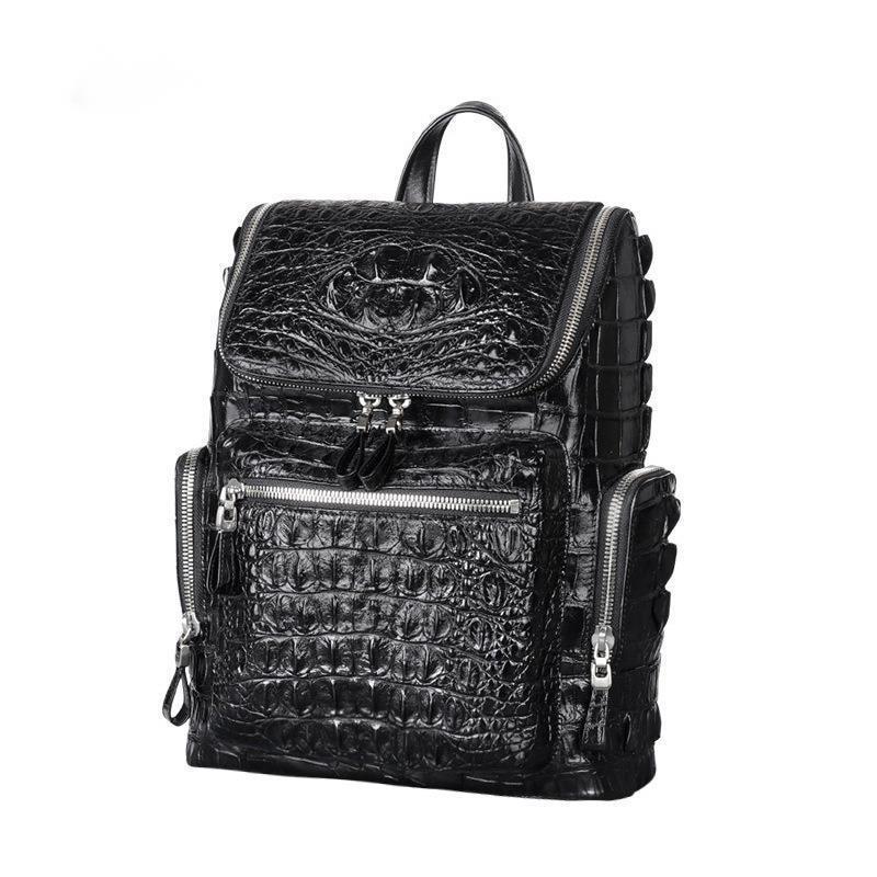 Мужская сумка из натуральной крокодиловой кожи с большой емкостью для ноутбука, роскошная дорожная сумка, повседневный рюкзак для школьник...