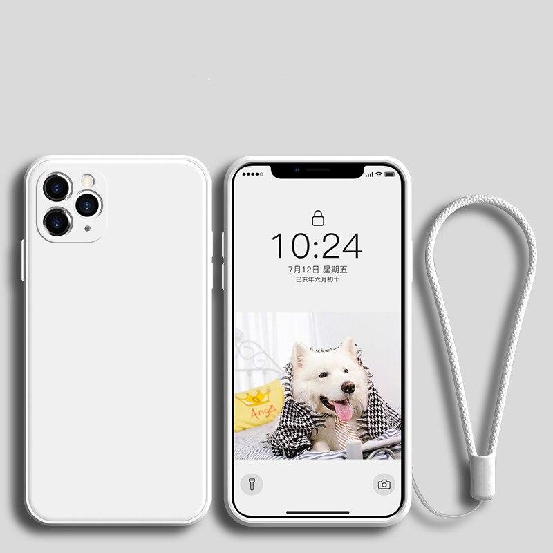 Funda de silicona de lujo para iPhone 11 Pro Max 12 con correa para iPhone XS MAX XR X 7 8 6S PLUS SE 2020