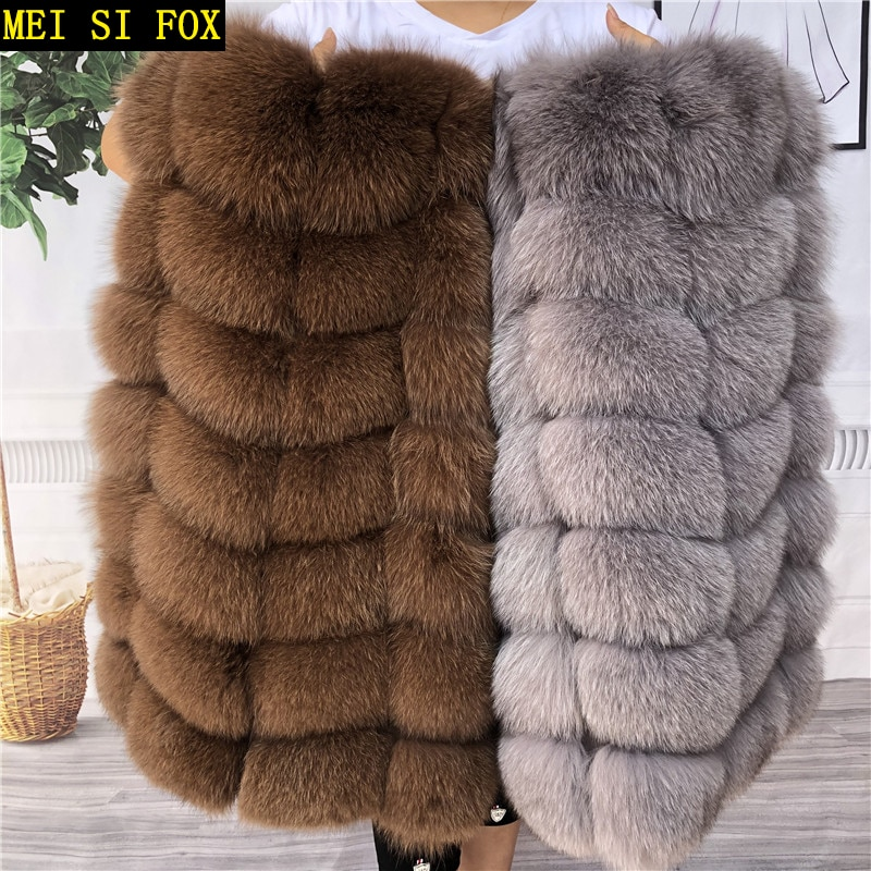 Natural fox fur vest ladies winter autumn coat warm vest made of natural fur women's vest real fur v