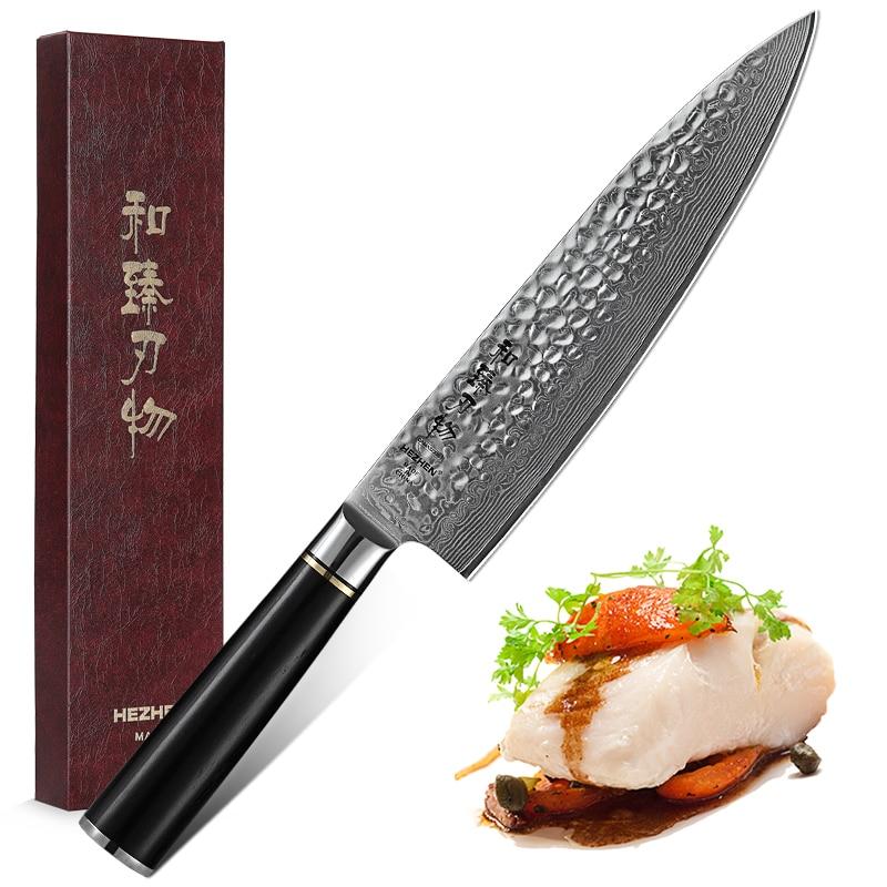Hezhen 8 inch inch polegadas profissional japonês chef facas de alta carbono vg10 ultra afiada lâmina aço damasco ferramentas corte cozinha