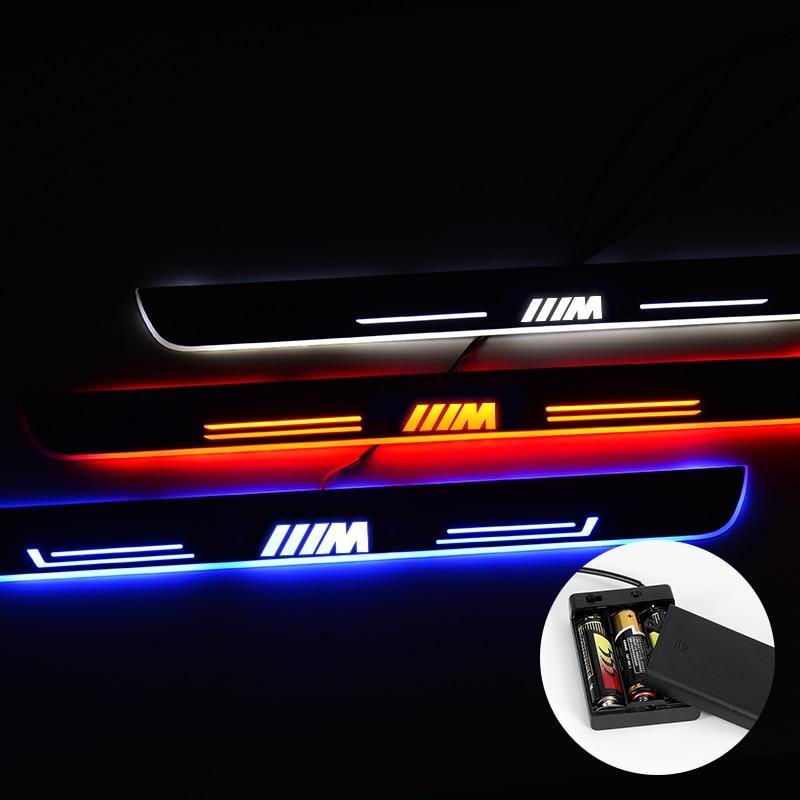 Umbral de puerta LED para BMW F30 F35 320i 325i 330i, placa de desgaste de luz estirada LED, accesorios de umbral de puerta de coche con batería acrílica