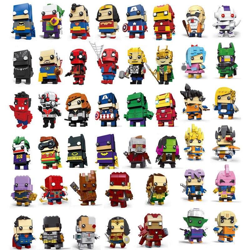 Милая кукла Marvel Мстители супер герой Brick Heads Человек-паук Бэтмен Супермен Фигурки Железного человека строительный блок мини Кирпичи Игрушки