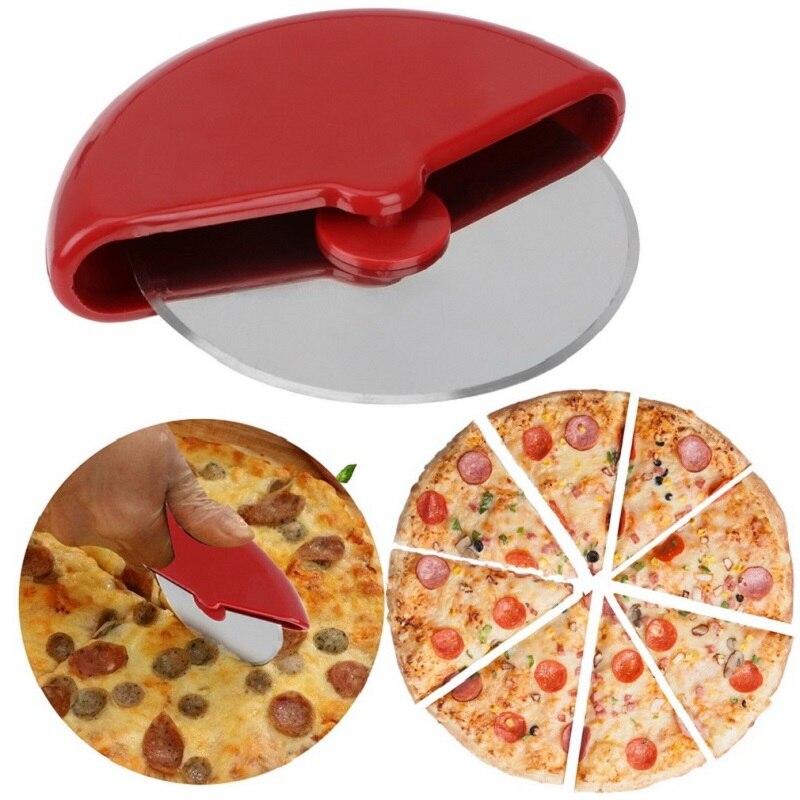 Acero inoxidable Pizza con manga protectora de la torta pan ruedas cortador redondo masa rodillo cortador cuchillo cocina herramienta de hornear