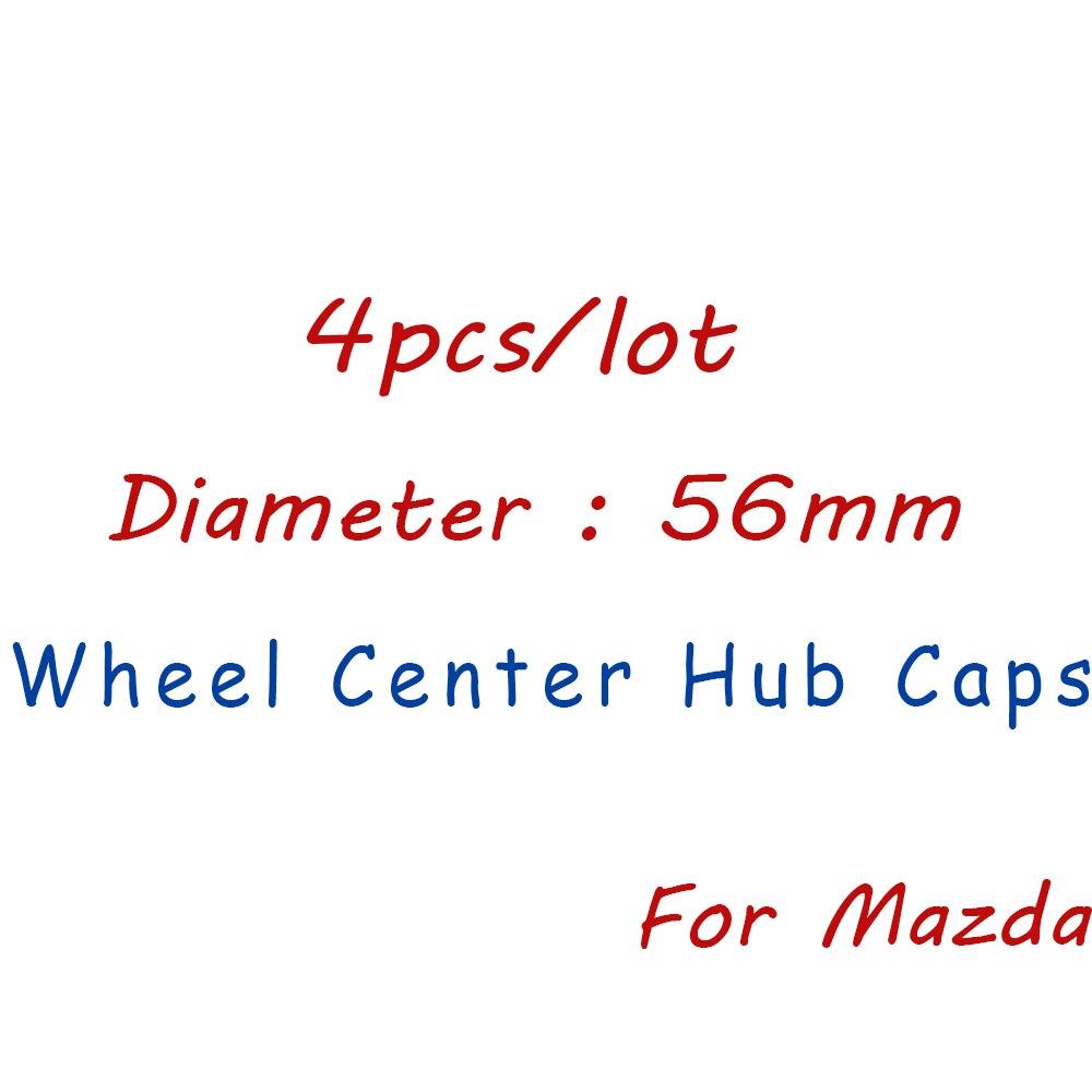 Tapa de llanta de coche negra de 56mm 4 Uds., insignia de tapacubos de centro de rueda, recambios de accesorios para Mazda 2 3 5 6 Axela CX-4 CX-5 CX9