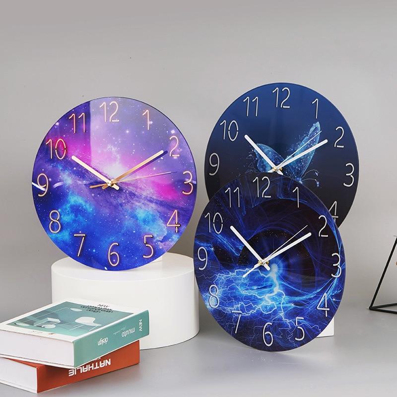 Reloj de Pared de cristal con diseño moderno, luz de paisaje, Arte...