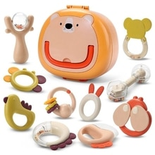 10 Pieces Small Animal Rattle Mixing Color Teething Ring Baby Set from 0 3 6 9 12 Months High Cute M