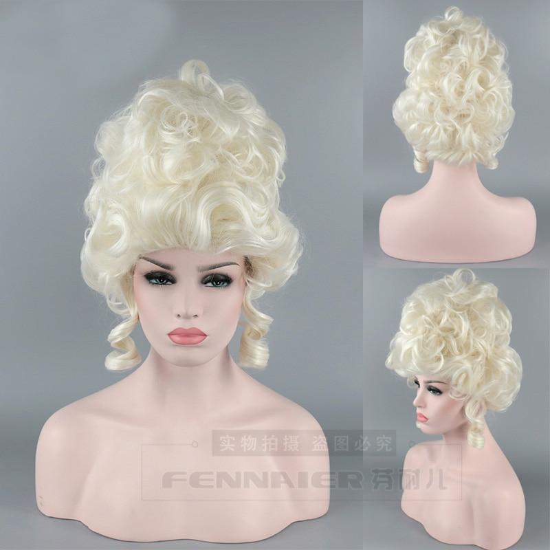 Marie Antoinette Princess Medium Curly Synthetic Hair Cosplay Wigs + Free Wig Cap