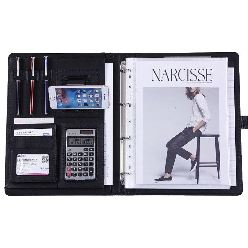 A4 couro do plutônio pasta de arquivo portátil com suporte do telefone calculadora multi-função almofadas de negócios gerente portfólio material de escritório