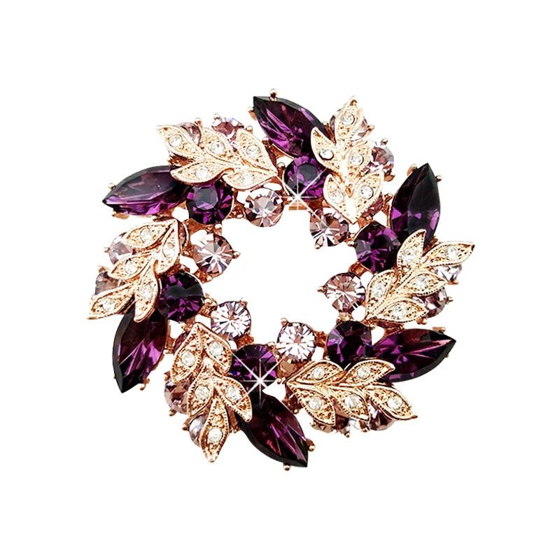 Alta calidad de moda de cristal de diamantes de imitación flor broches Pins Meta mujeres Cardigan bufanda chal con hebilla Pin de solapa accesorios de joyería