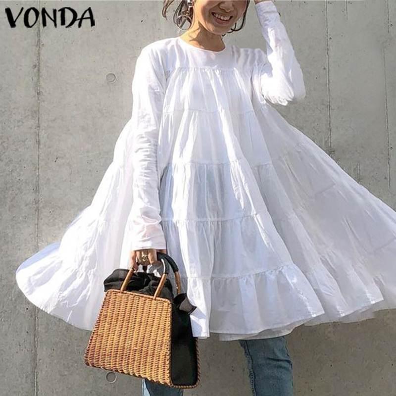 VONDA-vestido blanco para mujer, Sexy, cuello redondo, manga larga, Color sólido, Minivestido de fiesta, verano 2020, vacaciones, ligero, informal, suelto