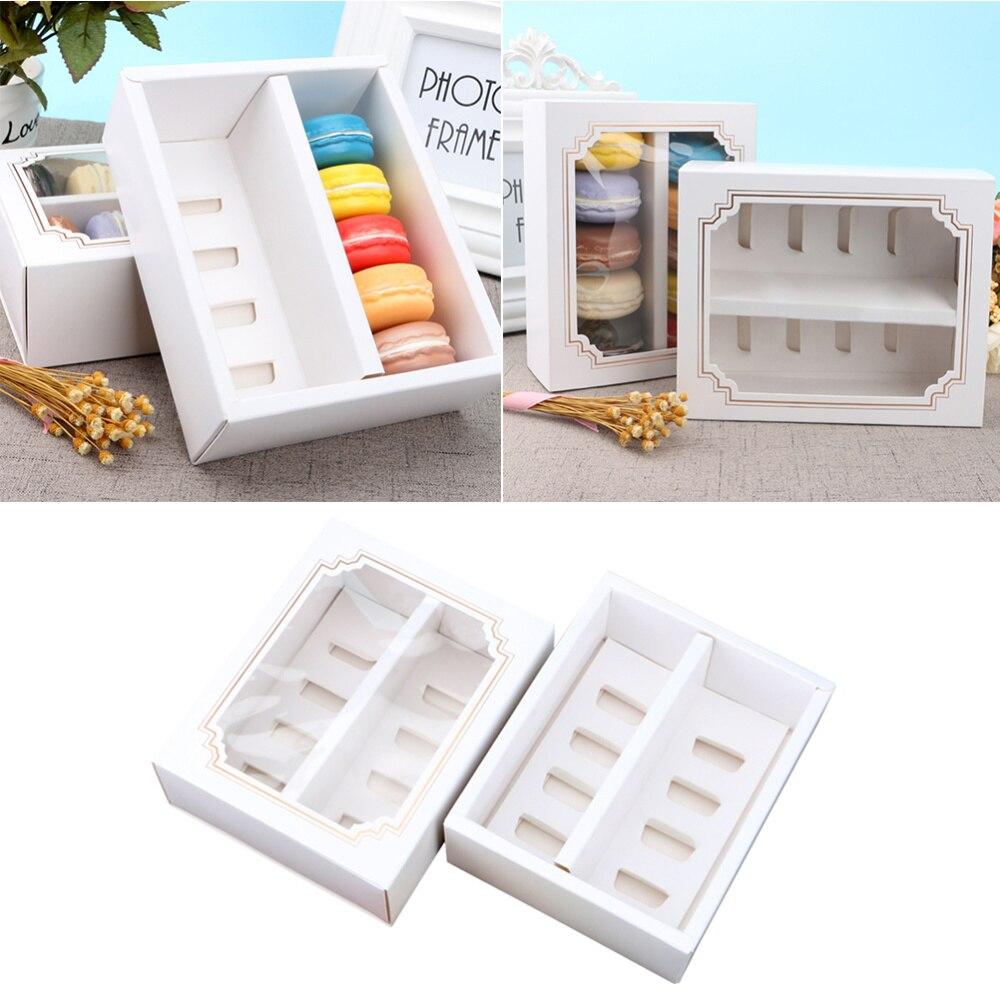 Caja de 10 Uds de macarrones de papel con ventana transparente, contenedores de postre, panecillos, portadores para casa, tienda de postres