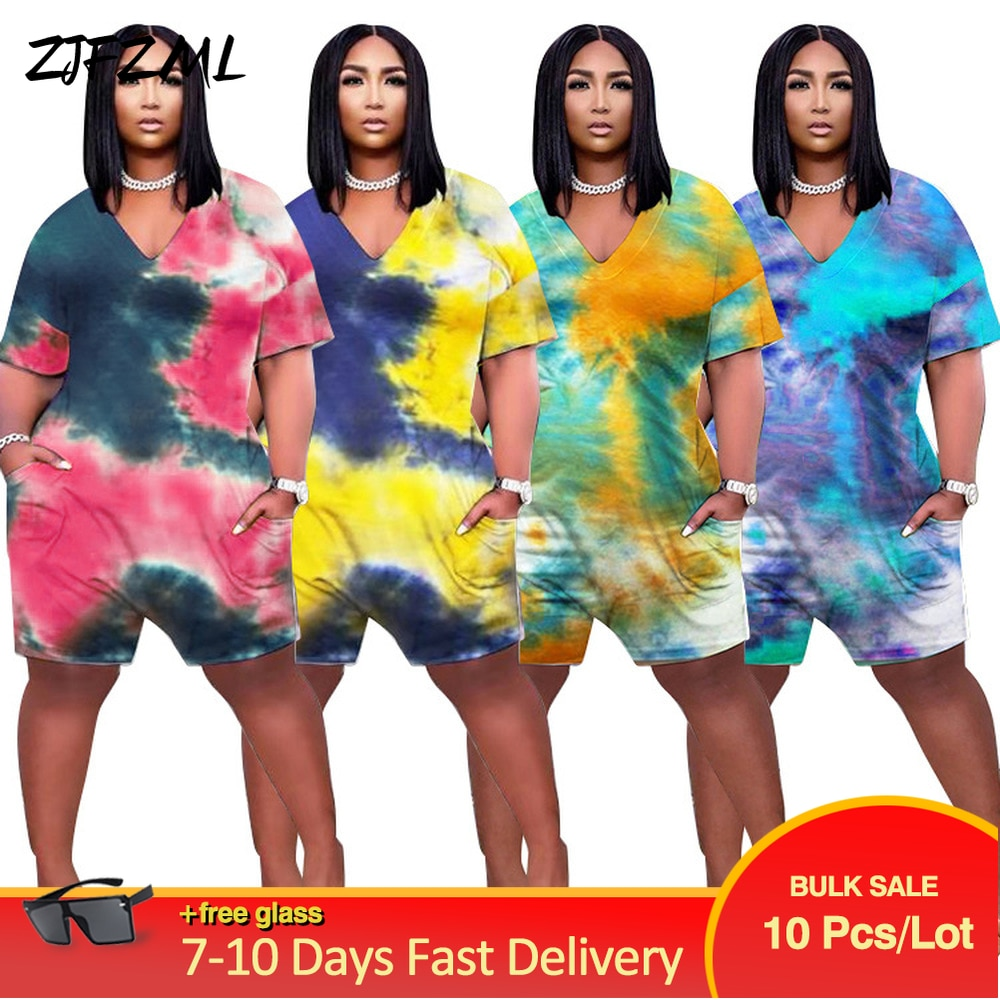 Bulk Items Wholesale Lots Women's Short Jumpsuit Trendy Tie Dyeing Print One Piece Overall Harajuku Female Loose Club Outfits