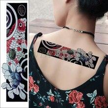 Imperméable à leau temporaire tatouage autocollant poisson Lotus feuille bande faux Tatoo personnalité Flash taille bras pied Tatto pour fille femmes hommes