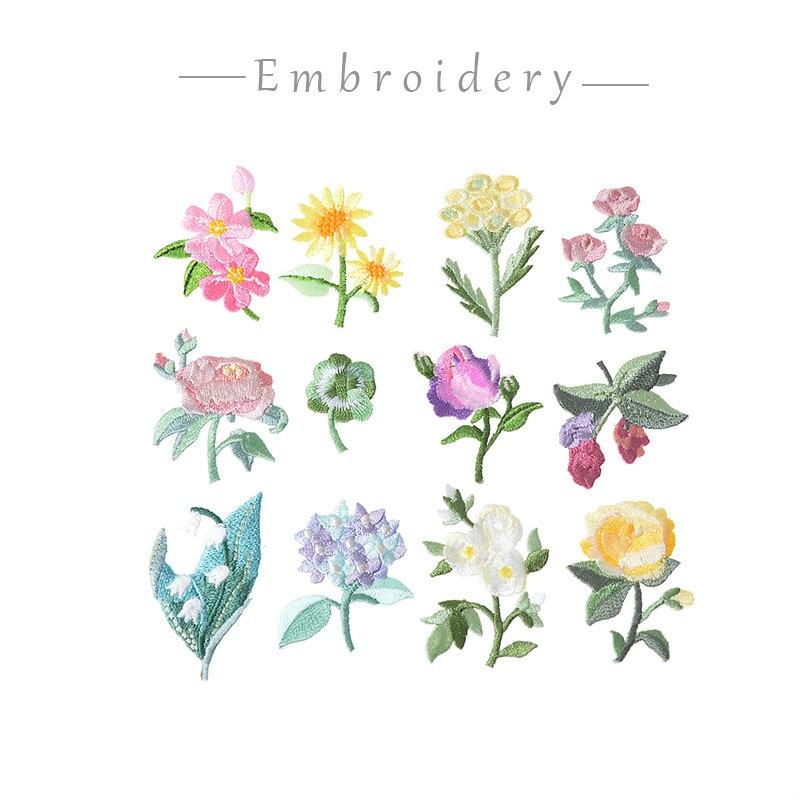 14 Uds. Parches bordados de flores y plantas para ropa parches florales DIY apliques de hierro para ropa Jeans