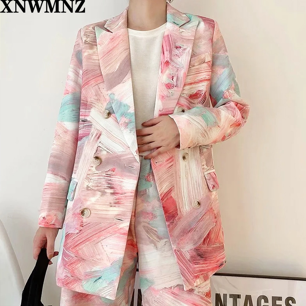 Jacket Fashion Tide Spring Autumn 2021 XNWMNZ ZA Women Printed Mixed Color Double Breasted Blazer New Lapel Long Sleeve Loose