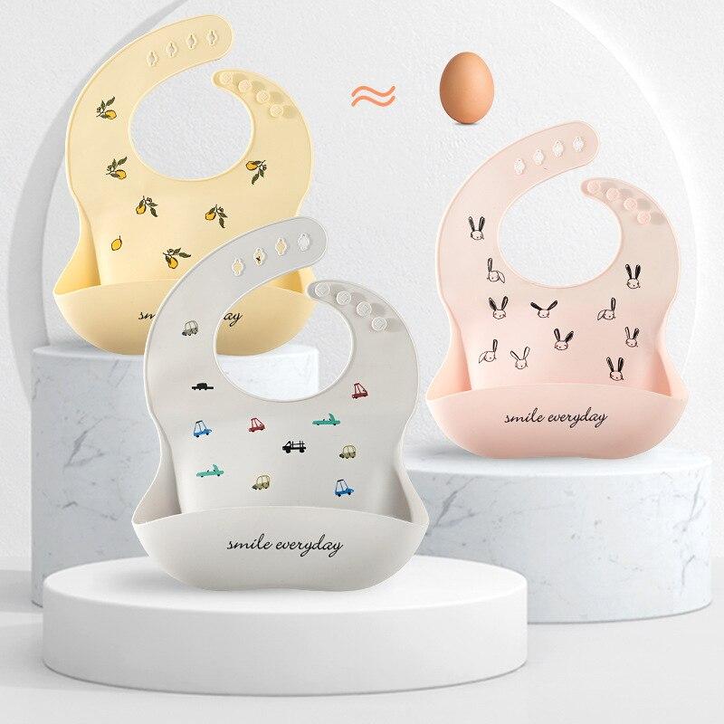 Милые детские нагрудники, водонепроницаемый силиконовый нагрудник, слюнявчик для кормления младенцев, мультяшное регулируемое детское по...