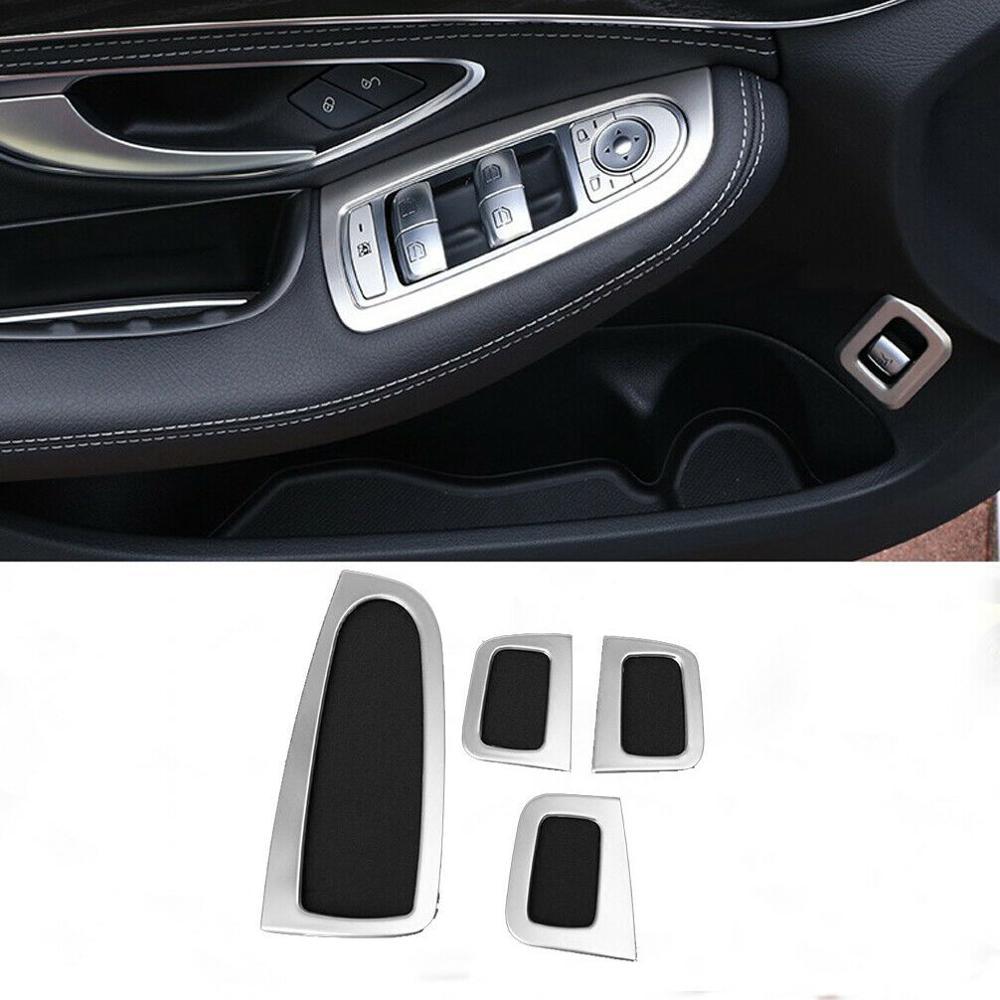 4 Uds. Cubierta plateada del regulador de la ventana de la puerta para Mercedes Benz Clase C W205 GLC X253