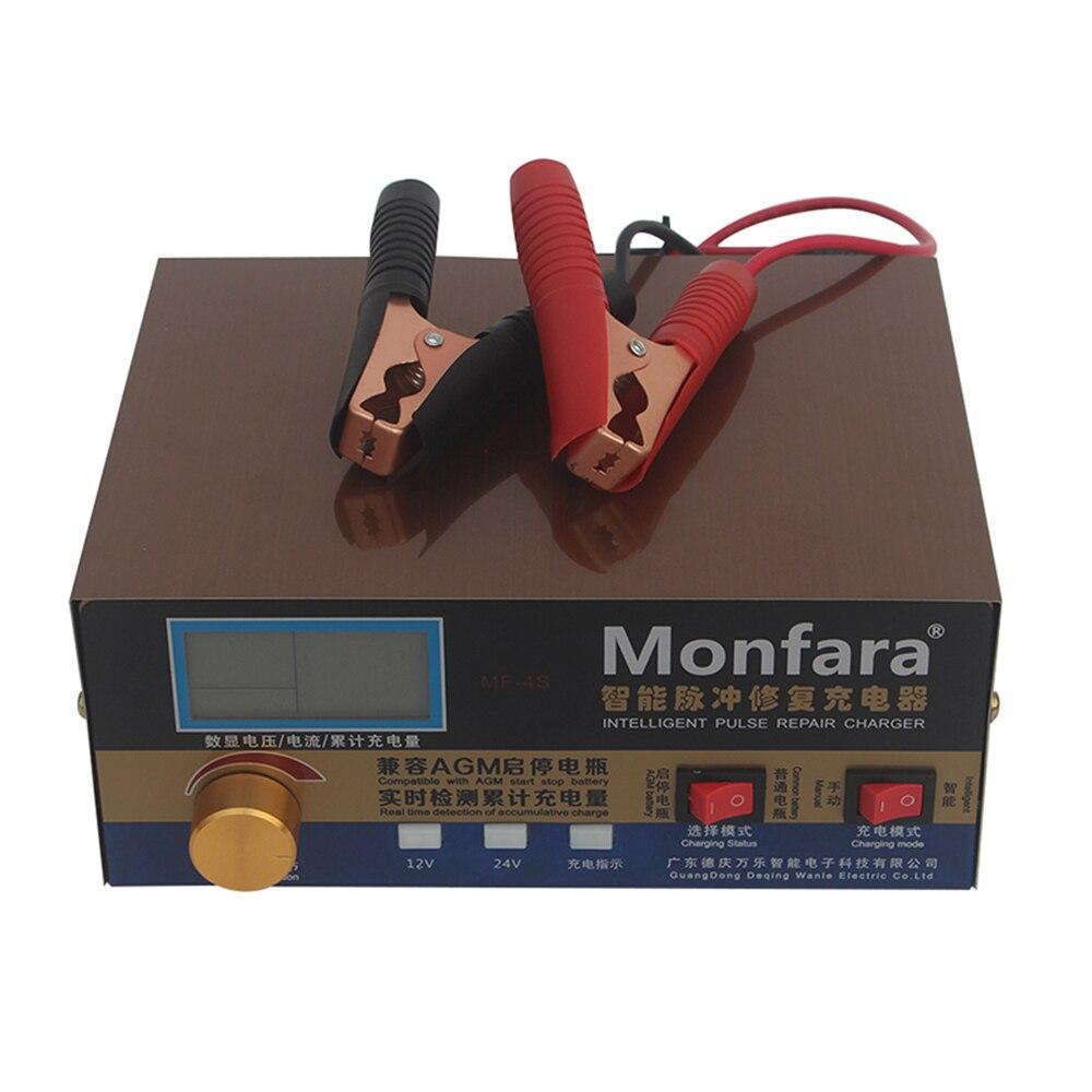 Cargador de batería de coche automático de 400 W, batería Universal de reparación de pulso inteligente, cargador de motocicleta, enchufe europeo/estadounidense