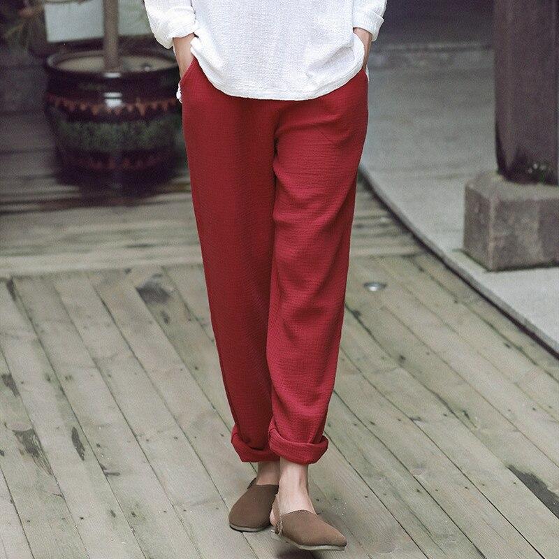 2020 verão outono algodão de linho calças femininas casuais estilo chinês calças moletom plus size preto branco calças 6xl 7xl 8xl