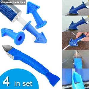 4pcs/set Silicone Remover Caulk Finisher Sealant Smooth Scraper Grout Kit Floor Cleaning Tile Dirt Tool Glue Nozzle Scraper Tool
