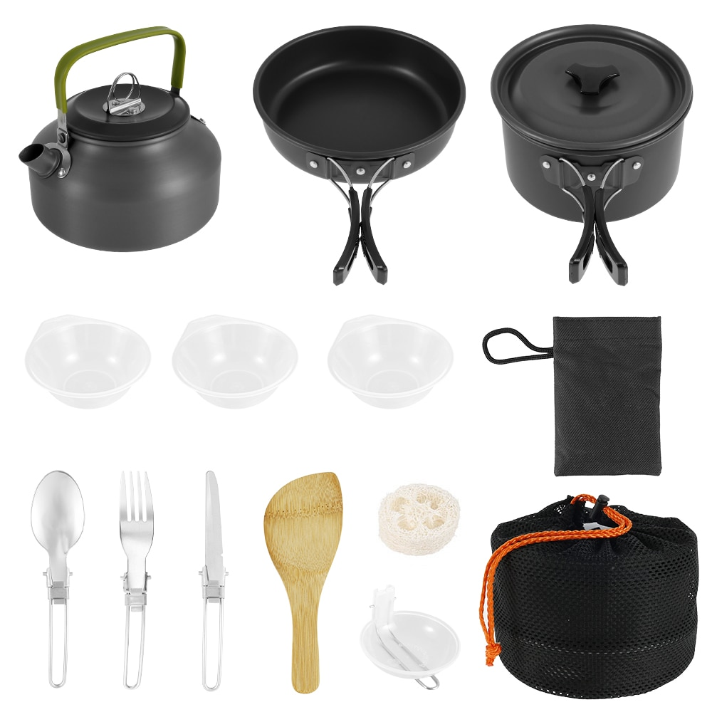 Camping Cookware Kit Outdoor Camping Tableware Cooking Cookware Pan Pot Bowl Spoon Fork Utensils for Hiking Picnic Travel Wild