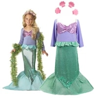 girls christmas cosplay little mermaid outfit princess dress children carnival birthday party ariel costume kids clothes and wig