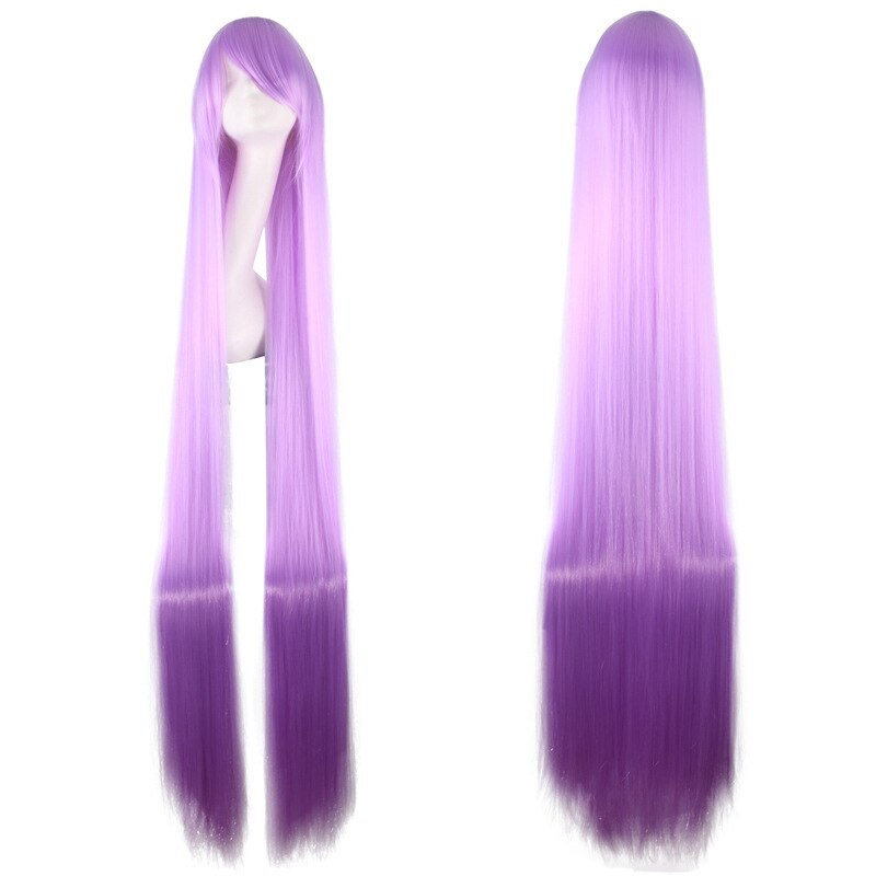 Peluca recta larga de 150CM 59 con flequillo para mujer, peluca de pelo sintético púrpura claro resistente al calor, pelucas de cosplay de fibra, Peruca de Halloween