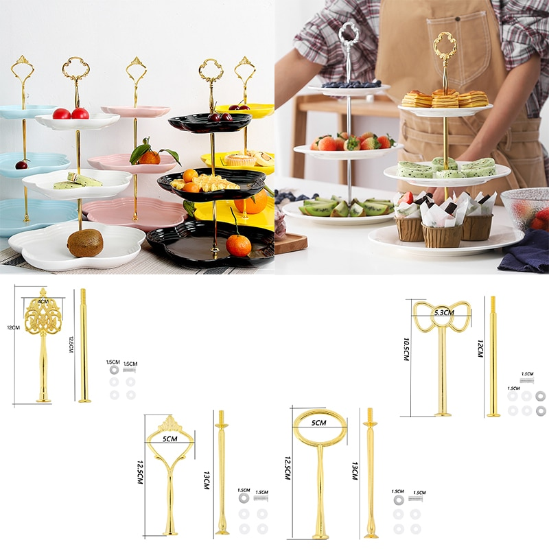 3 Tier Cake Cupcake Plate Stand Handle Hardware Fitting Crown Wedding Party Decor Snack Tray Holder Tray Home Dining Cake Tool
