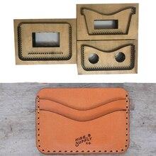 Moule à lame en acier du japon   Bricolage porte-cartes en cuir, ensemble de sacs, poinçon à main, couteau moule en bois, ensemble doutils de maroquinerie 105x80mm