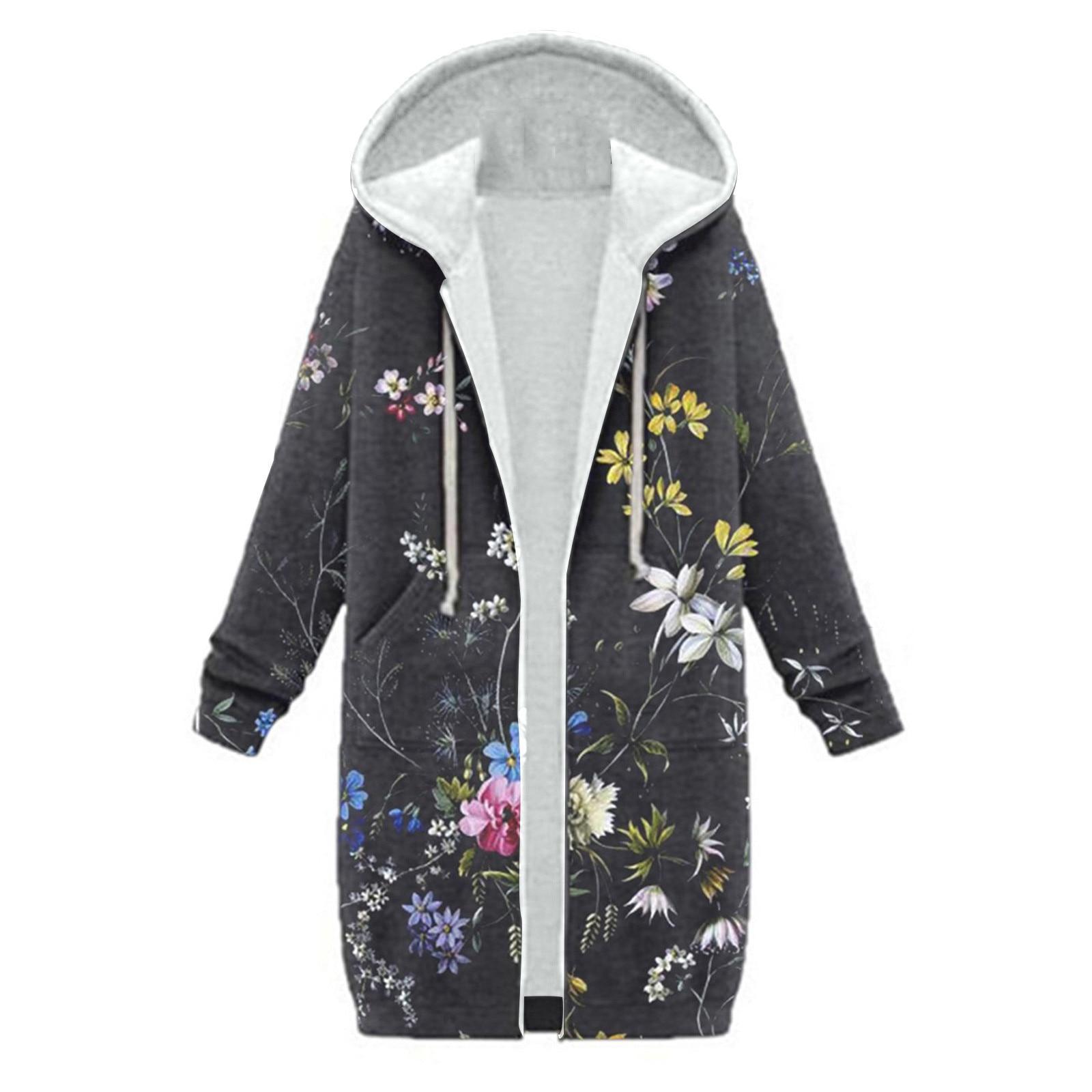 Women Hooded Jackets 2021 Spring Autumn Floral Causal Windbreaker Women Basic Jackets Coats Zipper L