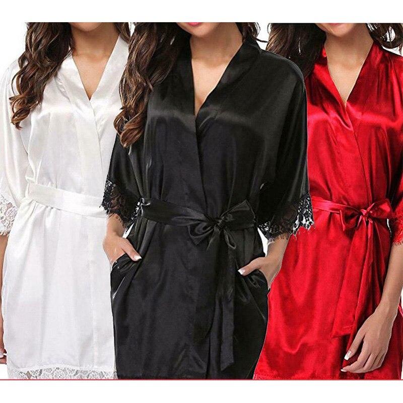 Robe Satin Sexy soie nuisette femmes Lingerie dames dentelle Robe portefeuille chemise de nuit