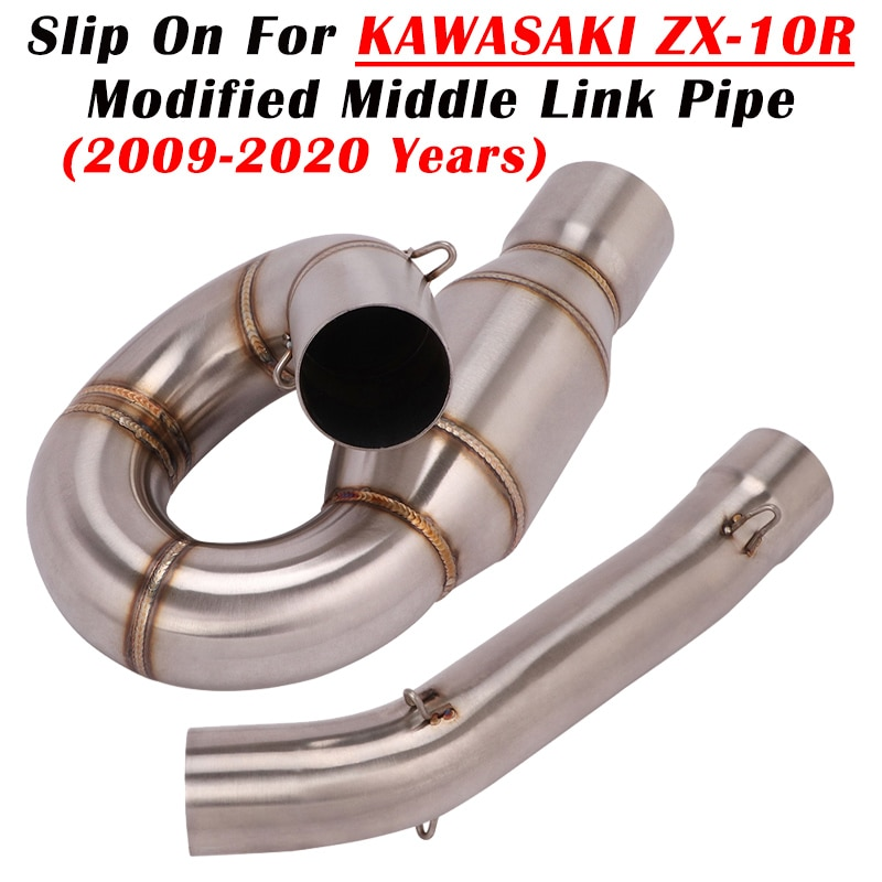 Slip On For Kawasaki ZX-10R 2009-2020 Full System Motorcycle Exhaust Escape Modified Connection Middle Link Pipe Without Muffler