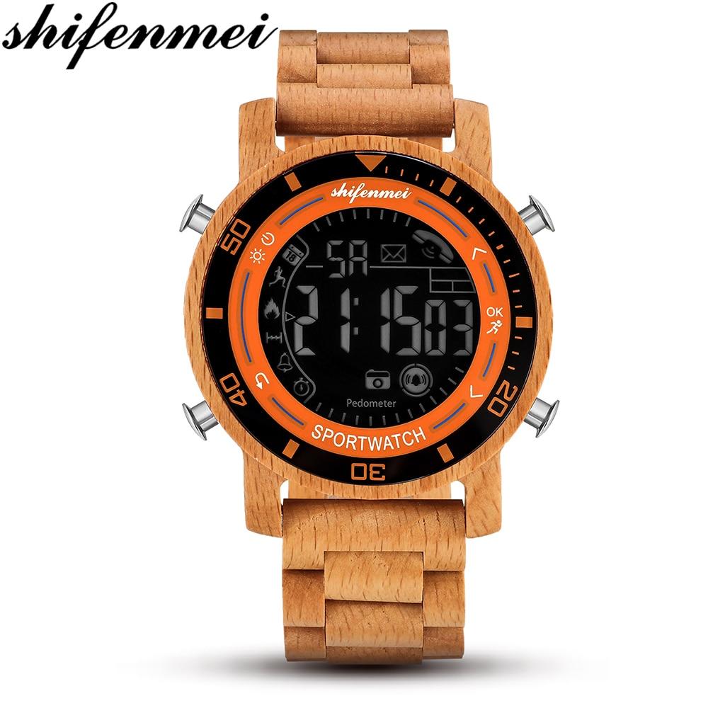 Relojes de madera Natural Shifenmei para hombre relojes de pulsera digitales LED para hombre relojes de madera reloj militar Masculino reloj inteligente Masculino 5558