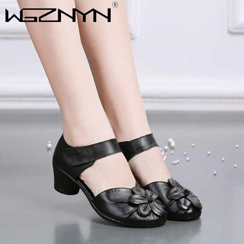2021 Vintage Women Sandals Pumps Comfortable Genuine PU Leather High Heel Shoes Women Round Toe Casu