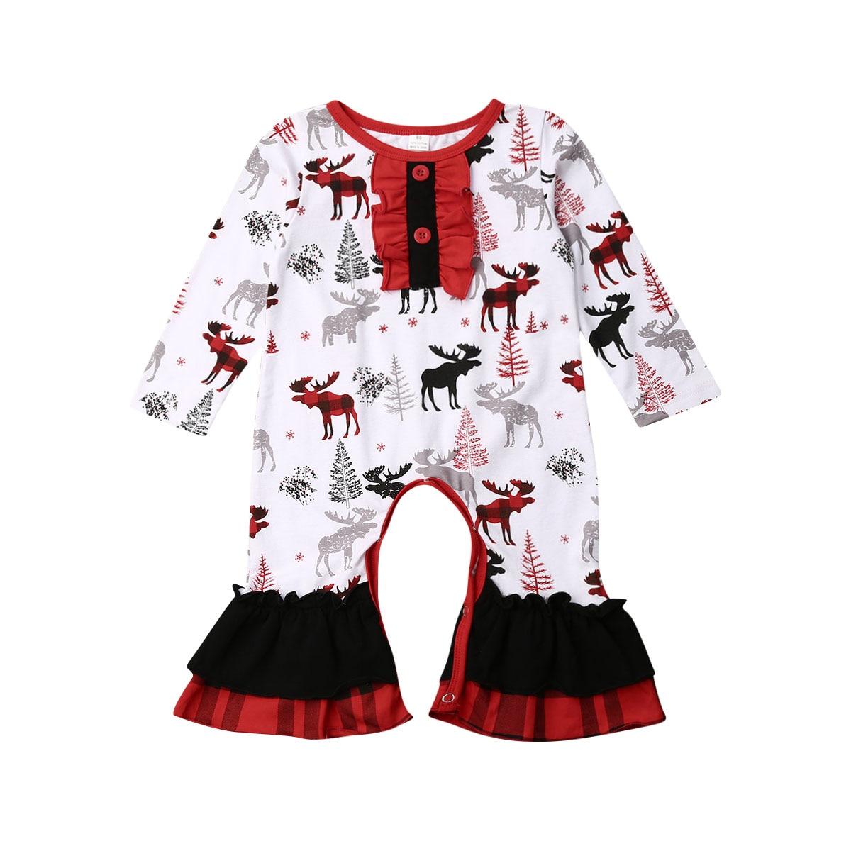 Navidad recién nacido niña Reno estampado manga larga volantes ropa mameluco mono trajes 0-24M