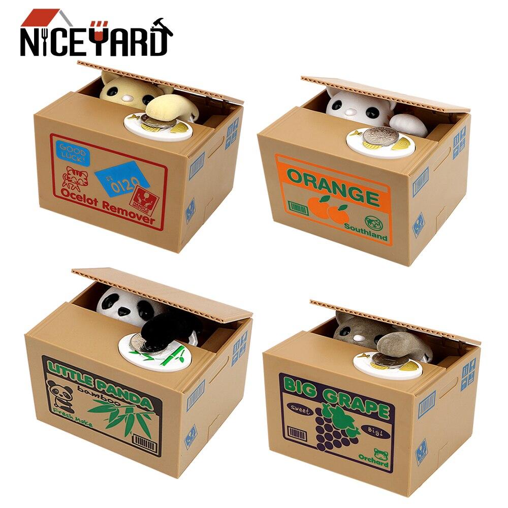 Hucha de gato hucha, hucha, caja de dinero segura, caja de dinero, regalo de robo de Panda para niños, Caja de Ahorro automática para cumpleaños