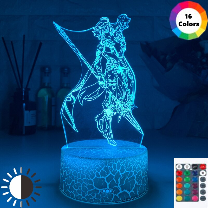 genshin impacto jogo figura sala de jogos configuracao quarto decoracao da lampada