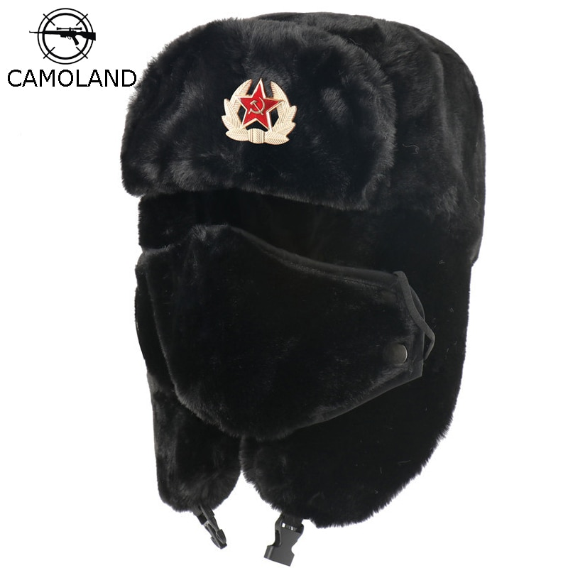 CAMOLAND Soviet Army Military Badge Bomber Hat Men Women Russia Ushanka Hats Faux Rabbit Fur Earflap