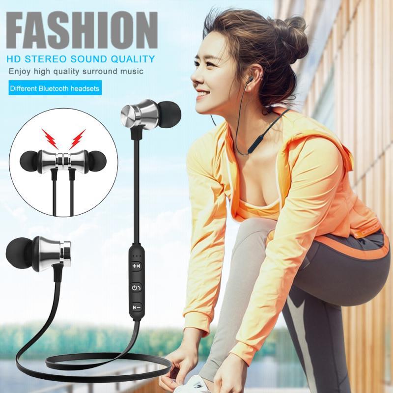 Auriculares inalámbricos Bluetooth en el oído, Auriculares deportivos para gimnasio con carga de micrófono para Huawei Xiaomi OPPO ONE PLUS iPhone8 X XS Samsung S8