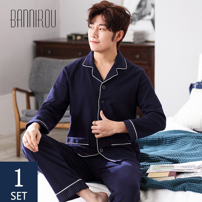 BANNIROU Pajamas For Men Male Pijama Set Winter Sleepwear For Man Pajamas For Man Cotton Men's pajamas Men's Home Clothes