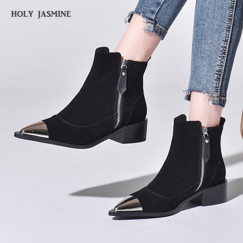 2020 Spring New Black Boots Handsome Rivets Buckle Straps Cow Suede Boots Pointed Toe Zip Cow Suede Women Fashion Ankle Boots