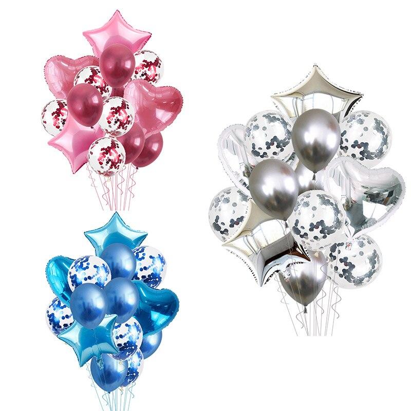 14 Uds confeti corazón globo de aluminio de estrella de fiesta de cumpleaños, decoración de la boda decoración de la ducha de bebé, decoración para el hogar, accesorios,