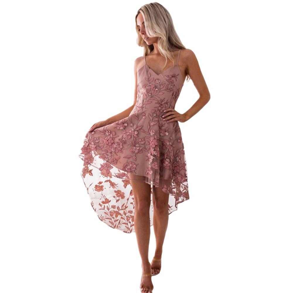 Elegant Women Dresses Embroidered Mesh Sexy Sling Irregular Lace Stitching Dress Fashion V-Neck Ladies Mesh Sling Party Dress