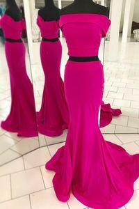 Женское длинное вечернее платье-русалка, розово-красное платье из двух предметов, с открытыми плечами, длиной в Пол, на молнии сзади, официал...