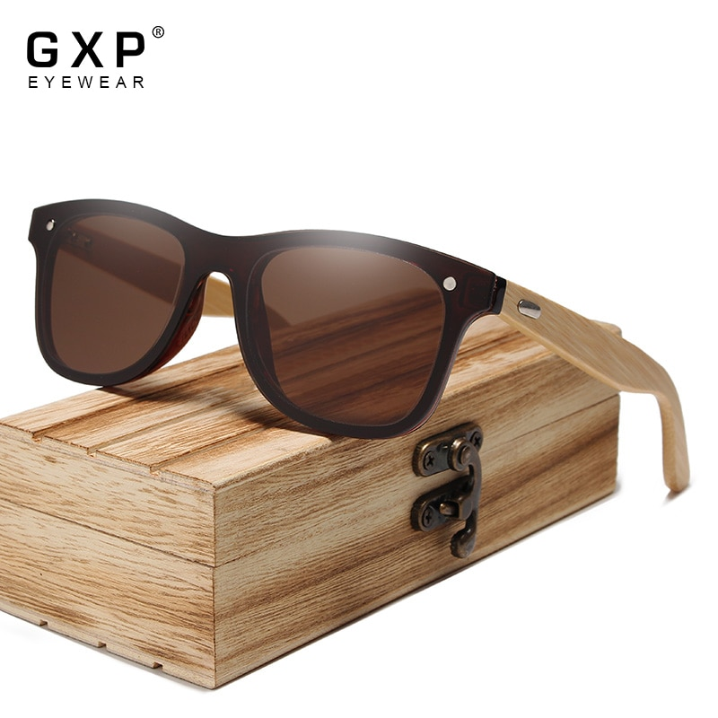 GXP 2021 Fashion Rimless Natural Bamboo Sunglasses Mirror Eyewear Polarized UV400 HD Lens Men Women