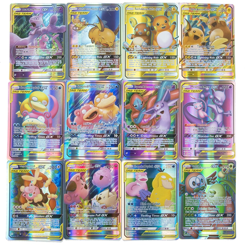 60 Pcs New Pokemon Cards GX Tag Team Vmax EX Mega Energy Shining Game Battle Carte Trading Collection Cards Toys Children Gifts